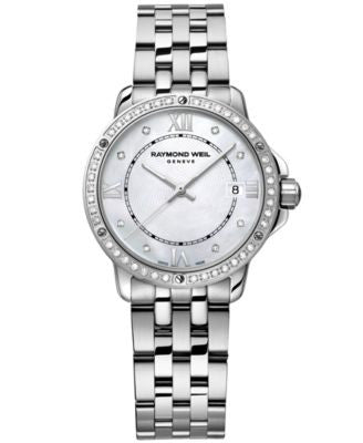 RAYMOND WEIL Watch, Women's Swiss Tango Diamond (1/5 ct. t.w.) Stainless Steel Bracelet 28mm 5391-ST