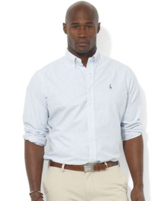 Polo Ralph Lauren Men's Big and Tall Long-Sleeve Stripe Oxford Shirt