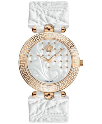 Versace Watch, Women's Swiss Vanitas White Calfskin Leather Strap 40mm VK701 0013