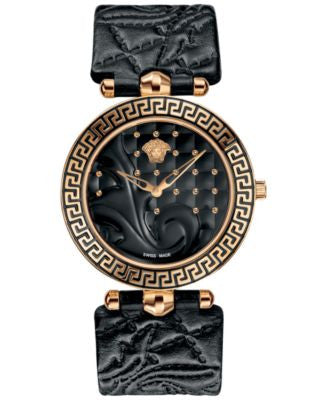 Versace Watch, Women's Swiss Vanitas Black Calfskin Leather Strap 40mm VK703 0013