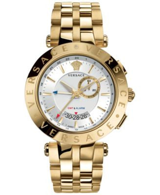 Versace Watch, Men's Swiss V-Race GMT Gold Ion-Plated Bracelet 46mm 29G70D001 S070