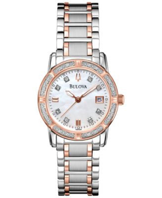 Bulova Women's Diamond Accent Two-Tone Stainless Steel Bracelet Watch 26mm 98R199 - A Vogily Exclusi