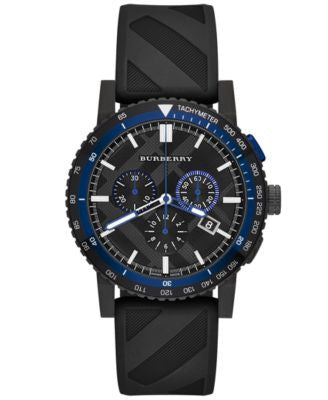 Burberry Watch, Men's Swiss Chronograph The New City Sport Black Rubber Strap 42mm BU9806