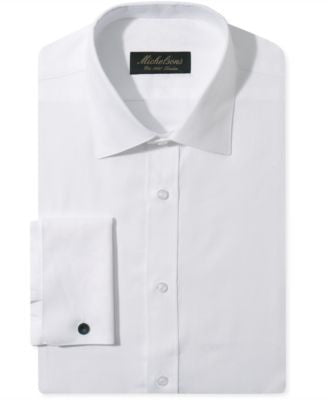 Michelsons Slim-Fit Chevron Textured French Cuff Tuxedo Shirt