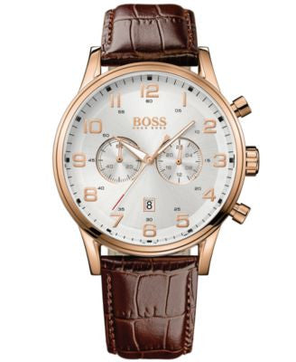BOSS Hugo Boss Watch, Men's Chronograph Aeroliner Brown Leather Strap 44mm 1512921