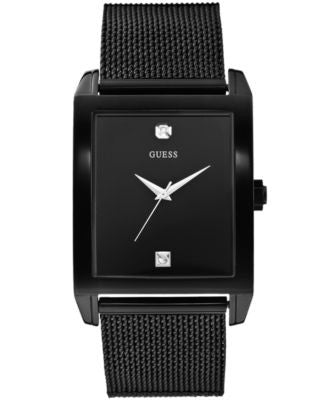 GUESS Men's Diamond Accent Black Ion-Plated Stainless Steel Mesh Bracelet Watch 41x37mm U0298G1