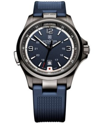 Victorinox Swiss Army Men's Night Vision Blue Rubber Strap Watch 42mm 249069