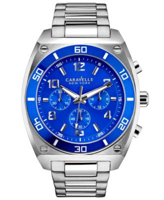 Caravelle New York by Bulova Men's Chronograph Stainless Steel Bracelet Watch 44mm 45A109