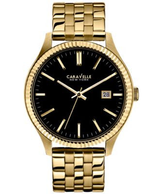 Caravelle New York by Bulova Men's Gold-Tone Stainless Steel Bracelet Watch 41mm 44B105