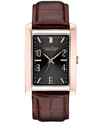 Caravelle New York by Bulova Men's Brown Leather Strap Watch 30mm 44A104