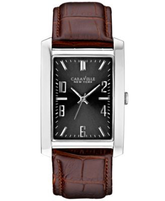Caravelle New York by Bulova Men's Brown Leather Strap Watch 44x30mm 43A119