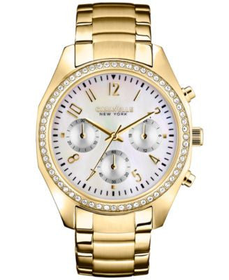 Caravelle New York by Bulova Women's Chronograph Gold-Tone Stainless Steel Bracelet Watch 36mm 44L11