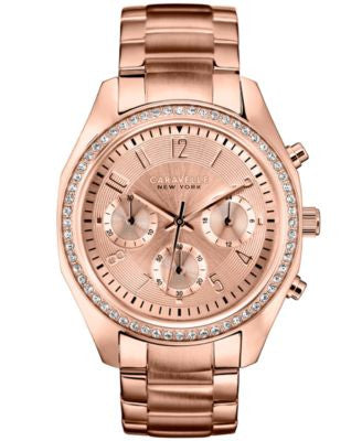 Caravelle New York by Bulova Women's Chronograph Rose Gold-Tone Stainless Steel Bracelet Watch 36mm