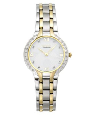 Citizen Women's Eco-Drive Diamond Accent Two-Tone Stainless Steel Bracelet Watch 29mm EM0124-57B - A