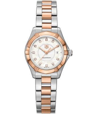TAG Heuer Women's Swiss Aquaracer Lady Diamond Accent Two-Tone Stainless Steel Bracelet Watch 27mm W