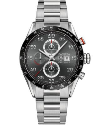 TAG Heuer Men's Swiss Automatic Chronograph Carrera Calibre 1887 Stainless Steel Bracelet Watch 43mm