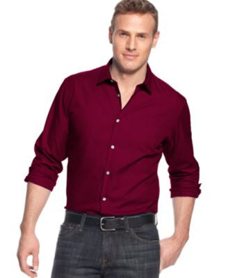 Alfani Big and Tall Long Sleeve Hinkley Stretch Shirt