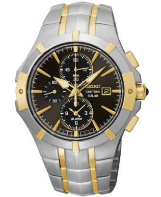 Seiko Men's Chronograph Coutura Solar Two-Tone Stainless Steel Bracelet Watch 41mm SSC198