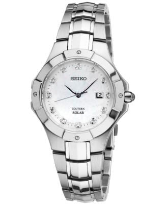 Seiko Women's Coutura Solar Diamond Accent Stainless Steel Bracelet Watch 29mm SUT125