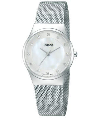 Pulsar Women's Stainless Steel Mesh Bracelet Watch 27mm PH8053