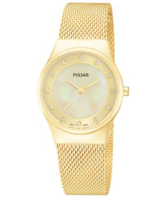 Pulsar Women's Gold-Tone Stainless Steel Mesh Bracelet Watch 27mm PH8056