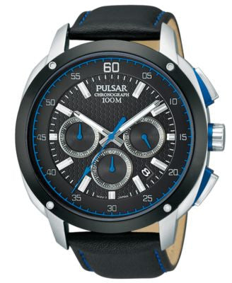 Pulsar Men's Chronograph Black Leather Strap Watch 45mm PT3391