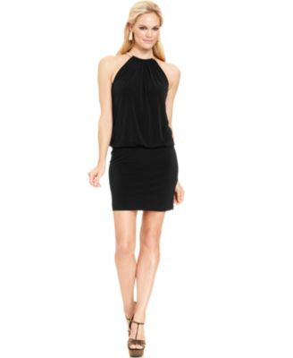 Jessica Simpson Halter Necklace Blouson Dress