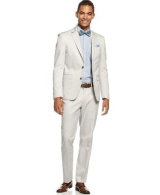 Kenneth Cole New York Trim-Fit Light Grey Cotton Suit Separates