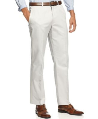 Kenneth Cole New York Light Grey Cotton Trim-Fit Pants