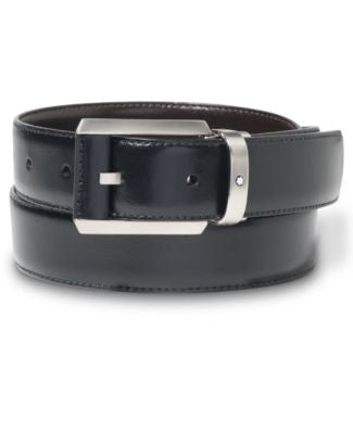 Montblanc Palladium-Coated Pin Buckle Reversible Leather Belt 38158