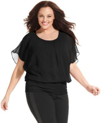 Style & Co. Plus Size Flutter-Sleeve Banded-Hem Top