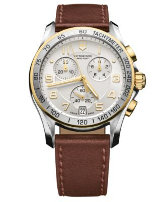 Victorinox Swiss Army Watch, Men's Chronograph Classic Brown Leather Strap 41mm 241510