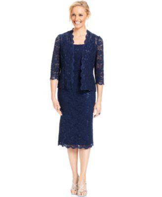 Alex Evenings Sequined Lace Sheath Dress and Jacket