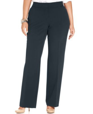 JM Collection Plus Size Curvy-Fit Straight-Leg Pants