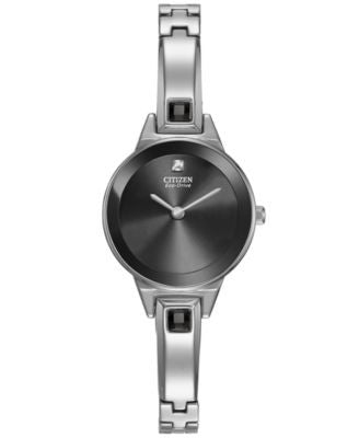 Citizen Women's Eco-Drive Silhouette Stainless Steel Bangle Bracelet Watch 23mm EX1320-54E