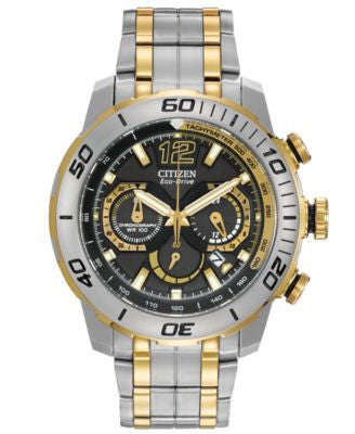 Citizen Men's Chronograph Eco-Drive Primo Two-Tone Stainless Steel Bracelet Watch 45mm CA4084-51E