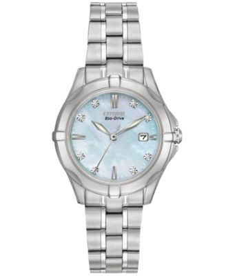 Citizen Women's Eco-Drive Diamond Accent Stainless Steel Bracelet Watch 29mm EW1930-50D