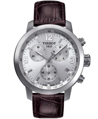 Tissot Men's Swiss Chronograph PRC 200 Brown Leather Strap Watch 42mm T0554171603700