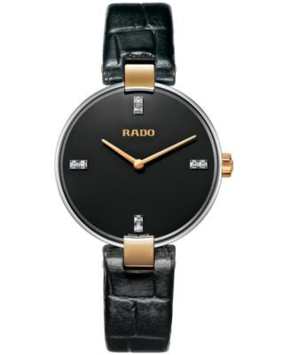 Rado Women's Swiss Coupole Diamond Accent Black Leather Strap Watch 33mm R22850705