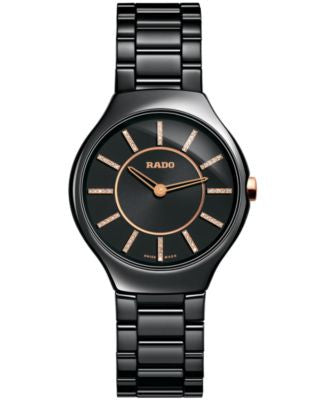 Rado Watch, Women's Swiss True Thinline Diamond Accent Black Ceramic Bracelet 30mm R27742702