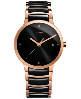 Rado Men's Swiss Centrix Diamond Accent Black Ceramic and Rose Gold-Tone PVD Stainless Steel Bracele