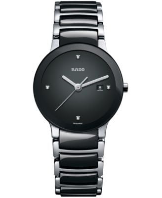 Rado Watch, Women's Swiss Centrix Diamond Accent Stainless Steel and Black Ceramic Bracelet 28mm R30