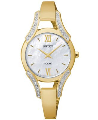Seiko Women's Solar Gold-Tone Stainless Steel Bangle Bracelet Watch 30mm SUP216
