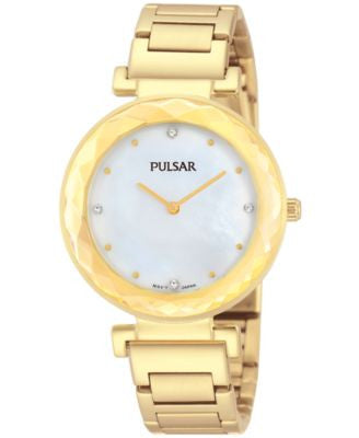Pulsar Women's Gold-Tone Stainless Steel Bracelet Watch 32mm PM2080