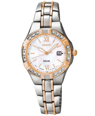 Seiko Women's Solar Diamond Accent Two-Tone Stainless Steel Bracelet Watch 27mm SUT146