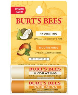 Burt's Bees Lip Balm, Coconut and Pear Mango Butter Blister Box, 2 Count