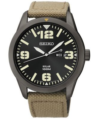 Seiko Men's Solar Beige Nylon Strap Watch 43mm SNE331