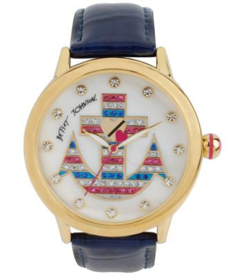 Betsey Johnson Women's Blue Patent Leather Strap Watch 41mm BJ00084-51