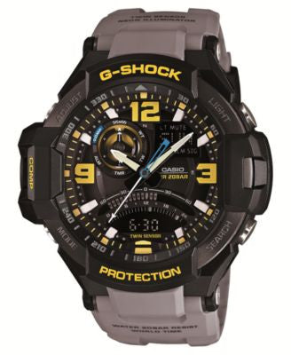 G-Shock Men's Analog-Digital Aviator Gray Resin Strap Watch 51x52mm GA1000-8A