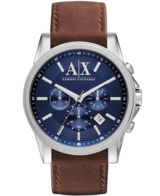 A|X Armani Exchange Men's Chronograph Brown Leather Strap Watch 45mm AX2501